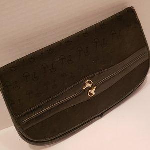Rare Gucci Black vintage horsebit clutch